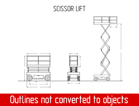Scissor lift overall dimensions blueprint template illustration Ilustração