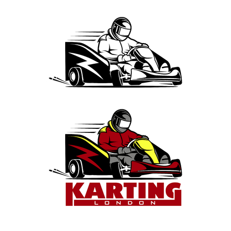 Kart racing winner illustration on a white background.
