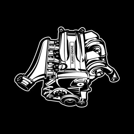 Car engine muscle car engine speedster illustration