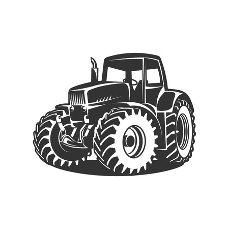 black tractor on white background Vettoriali