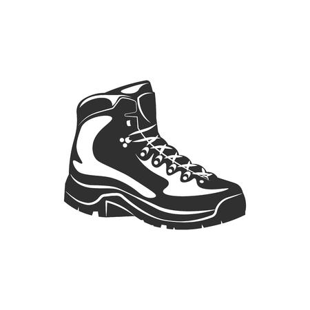 Black boot hiking icon - black and white vector illustration Vectores