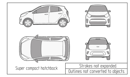 Car vector template on white background. Hatchback isolated. All layers and groups well organized for easy editing and recolor. Outlines not converted to objects.