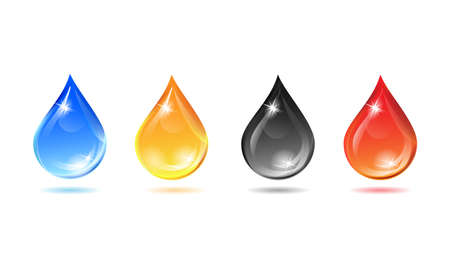 Set of multicolored droplets - Illustration Vector