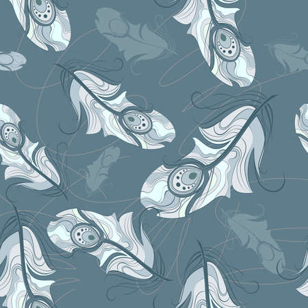 zero gravity: Seamless peacock pattern - Illustration