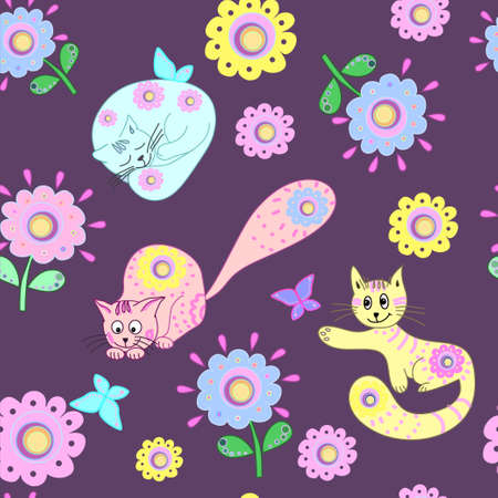 seamless background: seamless background, kitten, play