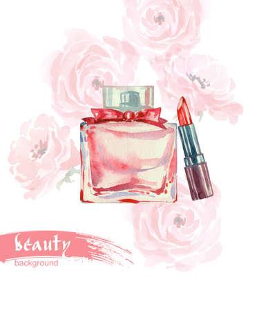 productos de belleza: Lápiz labial. Acuarela de belleza y cosméticos de fondo. Ilustración del vector. Vectores