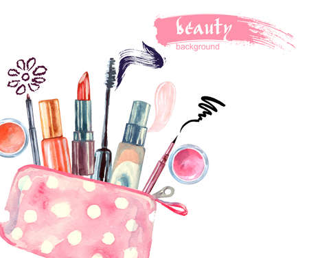 line up: Watercolor cosmetics pattern. with cosmetic bag and make up artist objects: lipstick, eye shadows, eyeliner, concealer, nail polish. Vector illustration.
