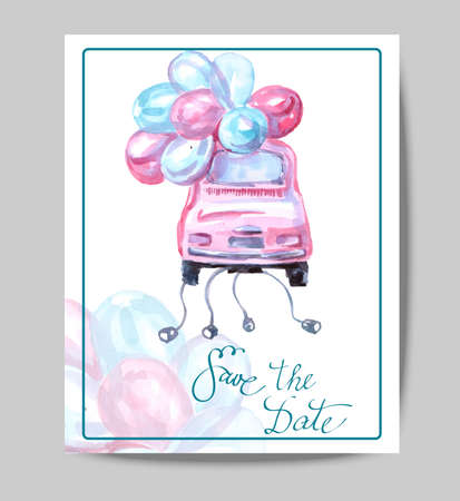 wedding reception decoration: Save The Date with watercolor retro car. Wedding Invitation Card Use for Boarding Pass, invitations, thank you card. Vector illustration. Illustration