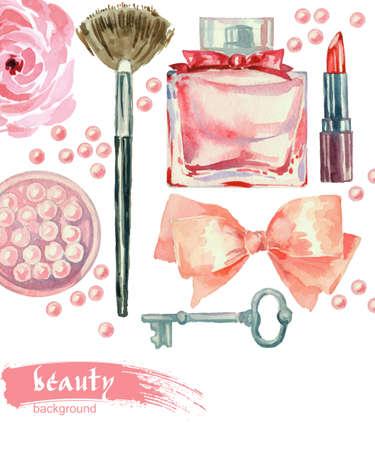 beauty: Aquarell Mode und Kosmetik Hintergrund mit Künstler Objekte bilden: Lippenstift, Rouge, Bogen, Schlüssel, Bürsten. Vector Schönheit Hintergrund