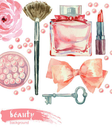 female beauty: Watercolor fashion and cosmetics background with make up artist objects: lipstick, blush, bow, key, brushes. Vector beauty background