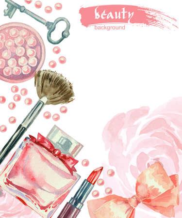 manera de la acuarela y cosméticos de fondo con objetos compensar artista: lápiz labial, rubor, arco, llave, cepillos. Vector de fondo la belleza