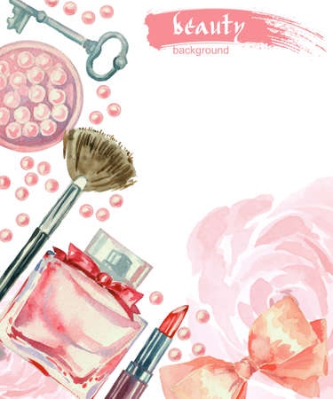 Watercolor fashion and cosmetics background with make up artist objects: lipstick, blush, bow, key, brushes. Vector beauty background