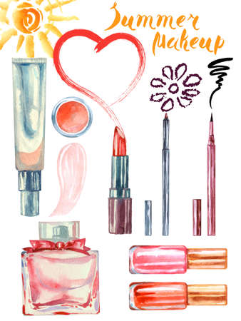 Watercolor summer cosmetics pattern. with cosmetic bag and make up artist objects: lipstick, eye shadows, eyeliner, concealer, nail polish. Vector illustration.