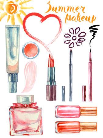 make up artist: Watercolor summer cosmetics pattern. with cosmetic bag and make up artist objects: lipstick, eye shadows, eyeliner, concealer, nail polish. Vector illustration.