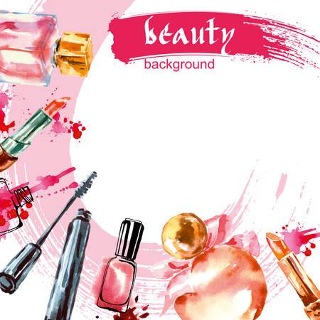 Aquarell Kosmetik Muster mit Make-up Künstler Objekte: Lippenstift, Nagel, Parfums, Mascara. Hand Vector Schönheit Hintergrund gezeichnet.