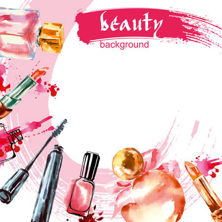 make up artist: Watercolor cosmetics pattern with make up artist objects: lipstick, nail, perfumes, mascara. Hand drawn Vector beauty background.
