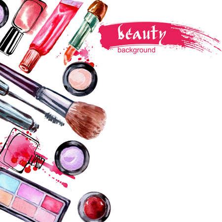 水彩化粧品メイクアップ アーティスト オブジェクトとパターン: 口紅、ネイル、香水、アイシャドウ ブラシ、マスカラー。手には、美しさのベクト