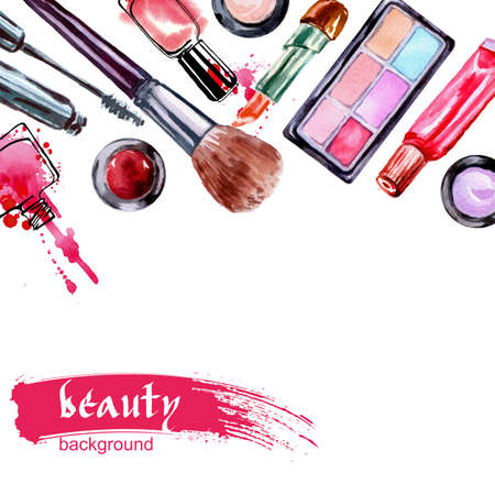 Watercolor cosmetics pattern with make up artist objects: lipstick, nail, perfumes, eye shadows, brushes, mascara. Hand drawn Vector beauty background.