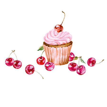 wedding reception decoration: Greeting card with watercolor cupcake and cherry. With place for your text. (Use for Boarding Pass, invitations, thank you card, Birthday card) Vector illustration.