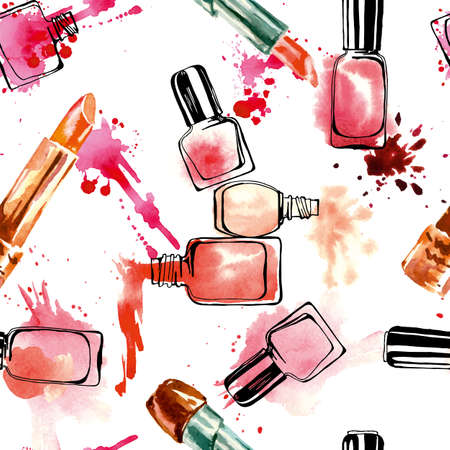 Watercolor seamless pattern with nail polish and lipstick. Vector illustration.
