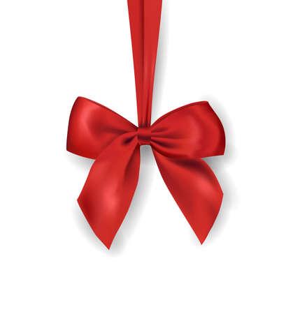 Red Band mit Schleife auf weißem Hintergrund. Vektor-Illustration.