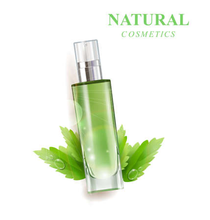 Cosmetic product, lotion,vegetable oil,natural cosmetics. Beautiful bottle with with drops .Beauty and cosmetics background. Use for advertising flyer, banner, leaflet.Template Vector.