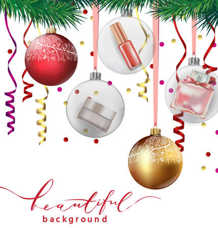 stage makeup: eauty and cosmetics background with Christmas tree branches, balloons, confetti, cosmetics. Use for advertising flyer, banner, leaflet. Christmas And New Year background. Template Vector.