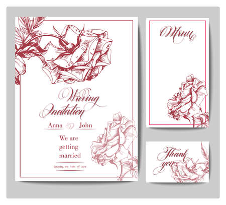 wedding reception decoration: Wedding Invitation Cards with blooming roses (Use for Boarding Pass, Save The Date, thank you card.) Template Vector.