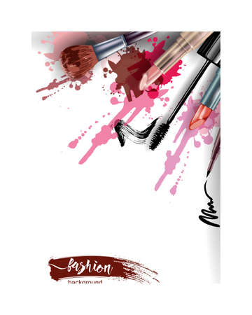 stage makeup: Cosmetics and fashion background with make up artist objects: lipstick, mascara eyeliner. With place for your text. Template Vector.