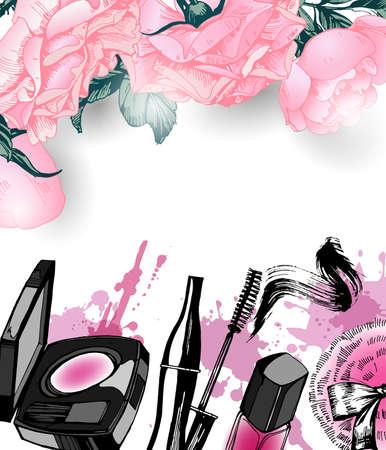 make up artist: Cosmetics and fashion background with make up artist objects: nail Polish, lip gloss, mascara, blush, powder brush, powder puff. Template Vector.