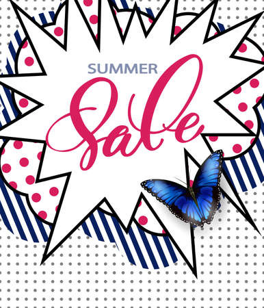 Summer sale Concept. Summer background with butterfly. Template Vector. Illustration