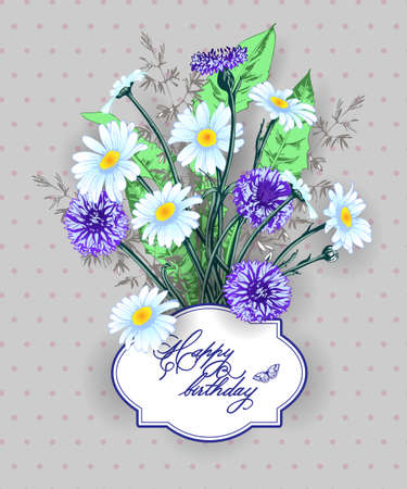 batterfly: Vintage Birthday you card wild flowers, daisies, cornflowers, grass. (Use for Boarding Pass, thank you card, invitations) Template Vector. Illustration