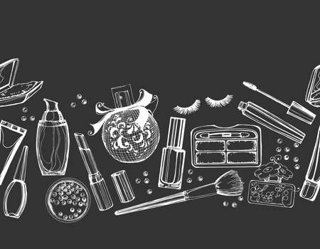 stage makeup: Seamless cosmetics pattern with make up artist objects. Vector illustration.