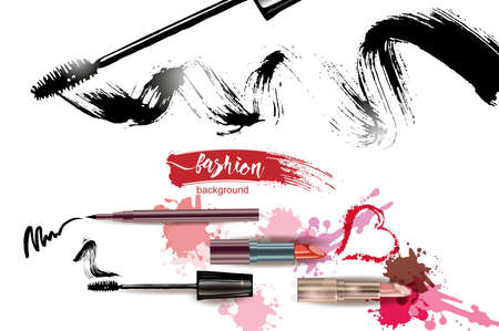 make up artist: Cosmetics and fashion background with make up artist objects: lipstick, mascara eyeliner. With place for your text. Template Vector.