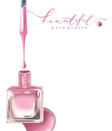 핑크 매니큐어 유리 병 오픈 뚜껑과 컬러 매니큐어의 드롭. 아름다움과 화장품 배경입니다. 흰색으로 격리. 템플릿 벡터입니다. 일러스트