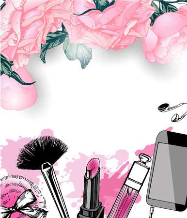 make up artist: Cosmetics and fashion background with make up artist objects: nail Polish, lip gloss, powder brush, powder puff. Template Vector.