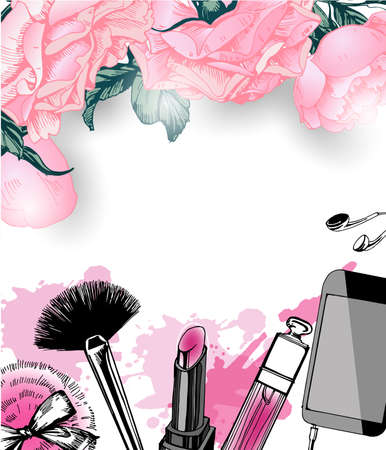 Cosmetics and fashion background with make up artist objects: nail Polish, lip gloss, powder brush, powder puff. Template Vector.