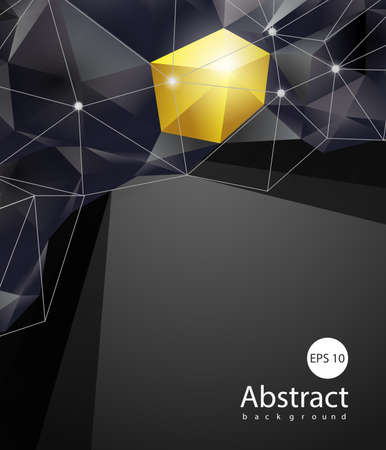 Abstract triangles space low poly. Polygonal vector background with connecting dots and lines. Template Vector. Illusztráció