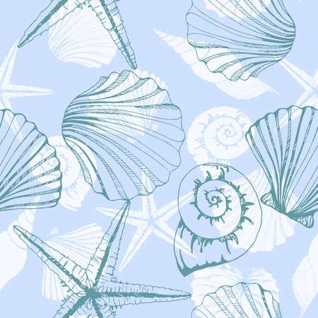 Seashells Texture Seamless. Vector illustration Illustration
