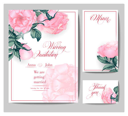 Wedding invitation cards with blooming peonies. (Use for Boarding Pass, invitations, thank you card.) Vector illustration.