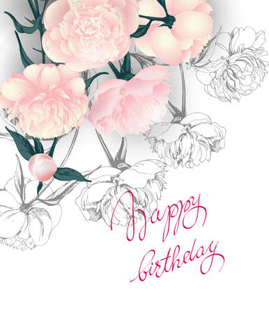 wedding reception decoration: Birthday card with with blooming roses. Use for Boarding Pass, invitations, thank you card. Template illustration. Illustration