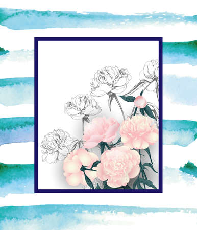 Floral greeting card with Bouquet of pink peonies, with space for your text. Template Vector.