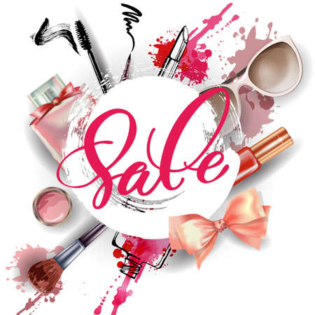 stage makeup: Cosmetics and fashion background with make up artist objects: womens black shoes, perfumes, nail Polish, keys with keychain, lip gloss, mascara, blush, powder brush, powder puff. Sale Concept.