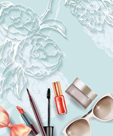 make up artist: Cosmetics and fashion background with make up artist objects: lipstick, cream, mascara eyeliner. With place for your text .Template Vector.