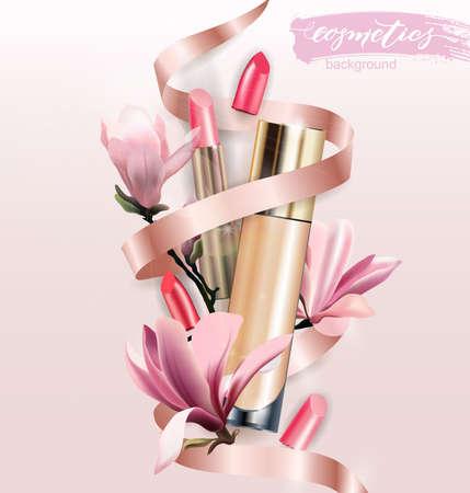 Producto cosmético, Fundación, corrector, crema con lápiz labial y flores Magnolia. Fondo de belleza y cosmética. Úselo para publicitar volantes, pancartas, panfletos. Vector de plantilla.