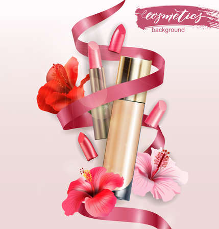 Cosmetic product, Foundation, concealer, creamwith lipstick and  withtropical  flowers. Beauty and cosmetics background. Use for advertising flyer, banner, leaflet.Template Vector.