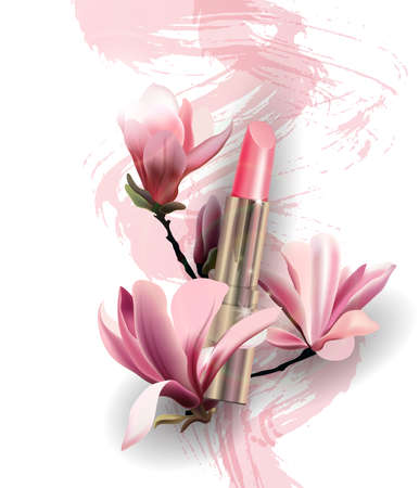 Lipstick with flowers Magnolia. Spring and beauty background.Beauty and cosmetics background. Use for advertising flyer, banner, leaflet. Template Vector. Ilustrace