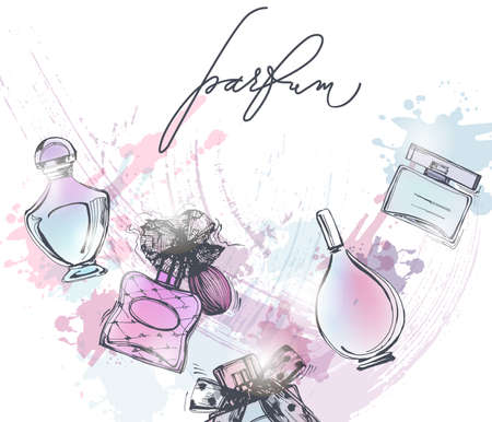 Hermosa botella de perfume. Hermoso y fondo de moda. Ilustración vectorial