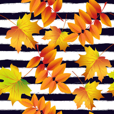 Seamless pattern with colorful autumn leaves and rowan berries . Vector illustration. Illustration