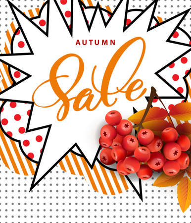 Autumn foliage vector sale banner with autumn leaves and rowan berries. Template Vector.